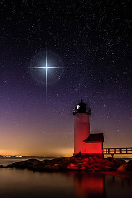 Poster featuring the photograph Lighthouse Star To Wish On by Jeff Folger