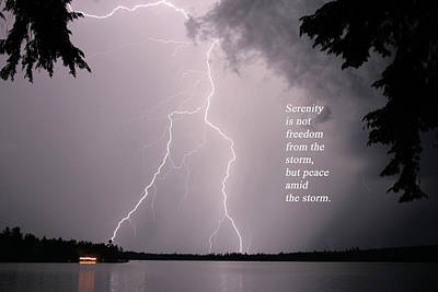 Poster featuring the photograph Lightning At The Lake - Inspirational Quote by Barbara West