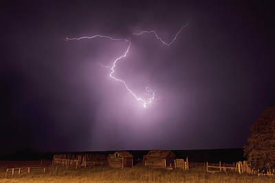 Lightning Bolt Over Some Abandoned Poster by Robert Postma