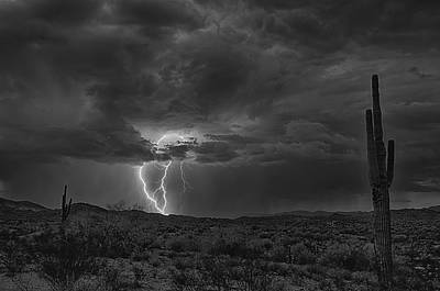 Lightning In Black And White  Poster by Saija  Lehtonen