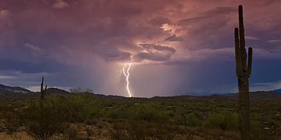Lightning Lights Up The Desert  Poster