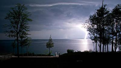 Lightning On Lake Michigan At Night Poster