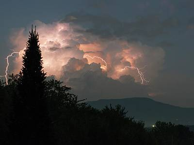 Lightning Storm Over Vermont Poster by Lawrence Lawry