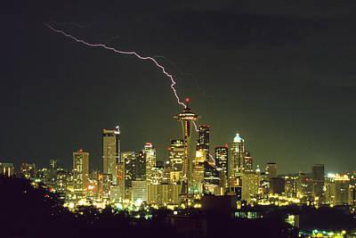 Lightning Strike In City Of Seattle Poster