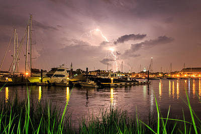 Poster featuring the photograph Lightning Strikes Annapolis by Jennifer Casey