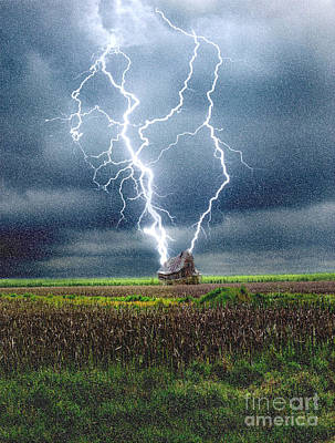 Lightning Striking A House Poster by Mike Agliolo