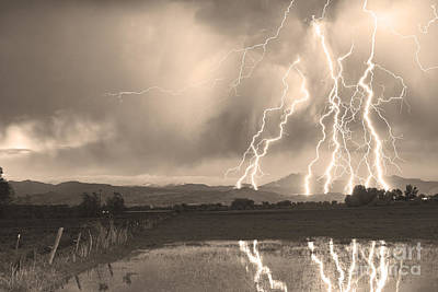 Lightning Striking Longs Peak Foothills Sepia 4 Poster