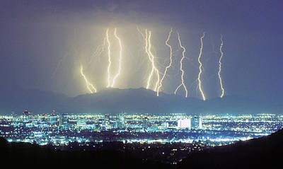Lightning Striking Over Phoenix Arizona Poster