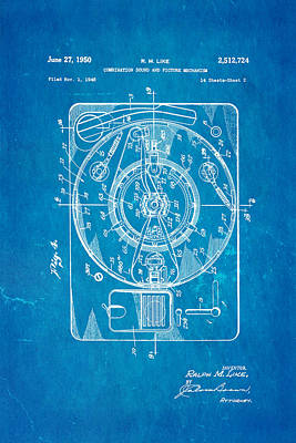 Like Sound And Picture Player 2 Patent Art 1950 Blueprint Poster by Ian Monk