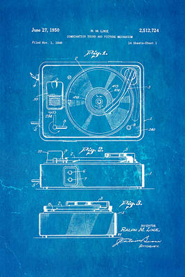 Like Sound And Picture Player Patent Art 1950 Blueprint Poster by Ian Monk