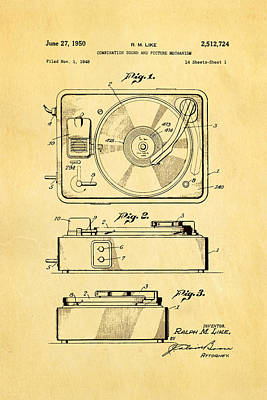 Like Sound And Picture Player Patent Art 1950 Poster by Ian Monk