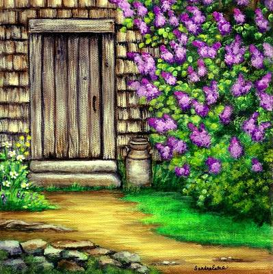 Poster featuring the painting Lilacs By The Barn by Sandra Estes