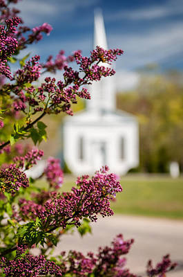 Lilac And Vintage New England Church -  Selective Focus  Poster by Thomas Schoeller