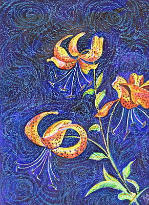 Lilies At Night Poster by Ion vincent DAnu