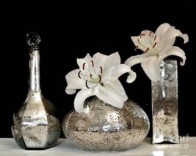 Lilies In Mercury Glass Vases Poster by Marsha Heiken