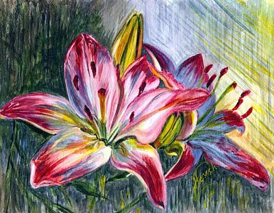 Poster featuring the painting Lilies Twin by Harsh Malik