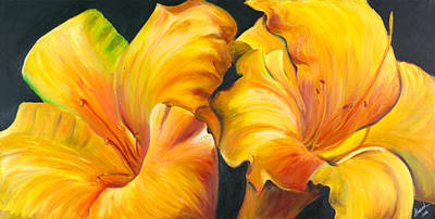 Poster featuring the painting Lillies by Sheri  Chakamian