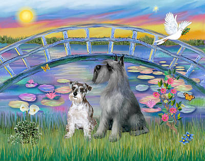 Poster featuring the digital art Lily Bridge With Twoo Schnauzers by Jean B Fitzgerald