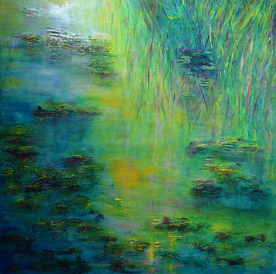 Lily Pond Tribute To Monet Poster by Claire Bull