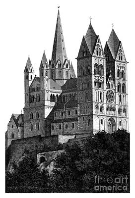 Limburg Cathedral Beautiful Detailed Woodblock Print Poster by Christos Georghiou