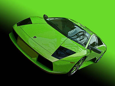 Lime Green Lamborghini Murcielago Poster by Samuel Sheats