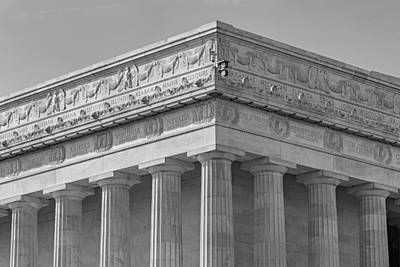 Lincoln Memorial Columns Bw Poster by Susan Candelario