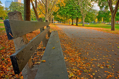 Lincoln Park Bench In Fall Poster