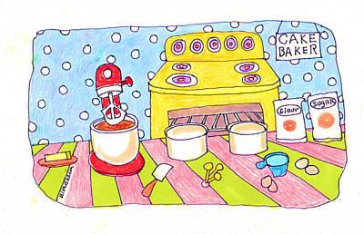 Linda Blondheim Art Toons Cake Baker Poster by Linda Blondheim