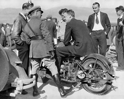 Lindbergh Rides Motorcycle Poster by Underwood Archives