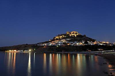 Lindos Acropolis And Beach In Twilight Night Lights Poster by Ollie Taylor