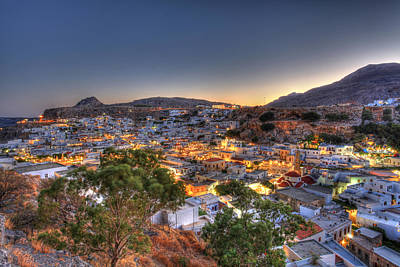 Lindos Village Ancient Skyline Rhodes Greece  Poster