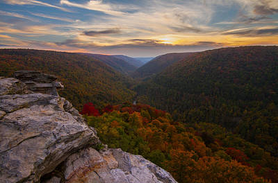 Lindy Point Sunset At Blackwater Falls In West Virginia Poster by Jetson Nguyen