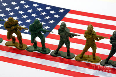 Line Of Toy Soldiers On American Flag Crisp Depth Of Field Poster