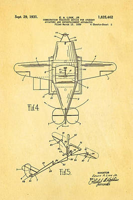 Link Flight Simulator Patent Art 1931 Poster by Ian Monk