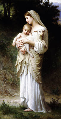 Poster featuring the digital art L'innocence By Bouguereau by Bouguereau