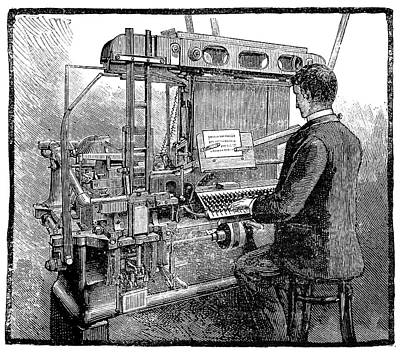 Linotype Typesetting Machine, 1889 Poster by Science Photo Library