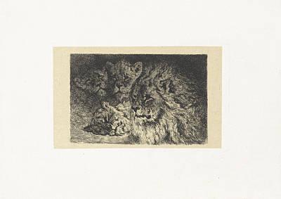 Lion And Lioness, Frederik Willem Zrcher Poster by Frederik Willem Z?rcher