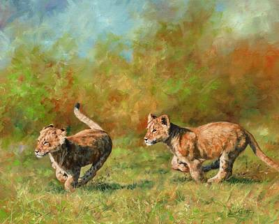 Lion Cubs Running Poster