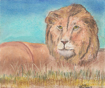 Poster featuring the pastel Lion by David Jackson