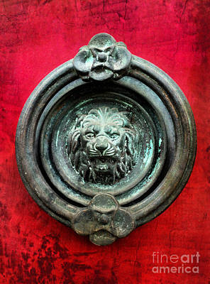 Lion Door Knocker On Red Door Poster
