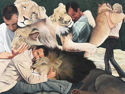 Lion Hugs Poster by Cory Calantropio