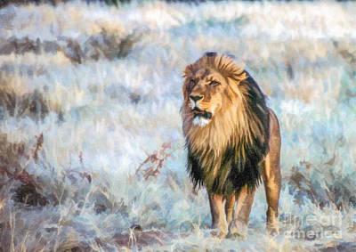 Handsome Lion Poster by Liz Leyden