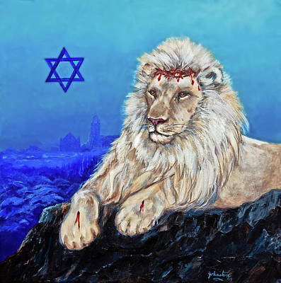 Poster featuring the painting Lion Of Judah - Jerusalem by Bob and Nadine Johnston
