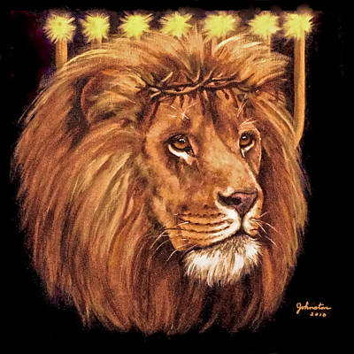 Poster featuring the painting Lion Of Judah - Menorah by Bob and Nadine Johnston