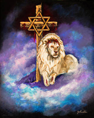 Lion Of Judah Original Painting Forsale Poster by Nadine Johnston