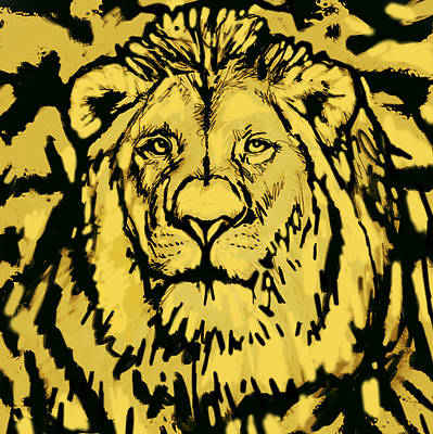 Lion Stylised Pop Art Drawing Potrait Poser Poster by Kim Wang