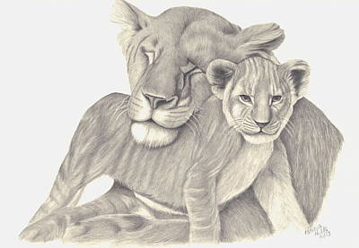 Poster featuring the drawing Lioness And Cub by Patricia Hiltz