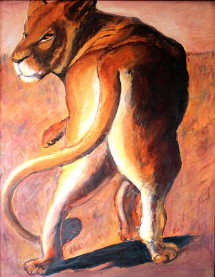Poster featuring the painting Lioness by Rosemarie Hakim