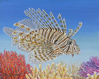 Poster featuring the painting Lionfish And Coral by Jane Girardot