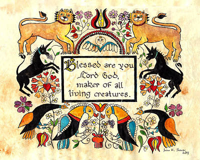 Lions And Unicorns-fraktur Poster by Joan Shaver